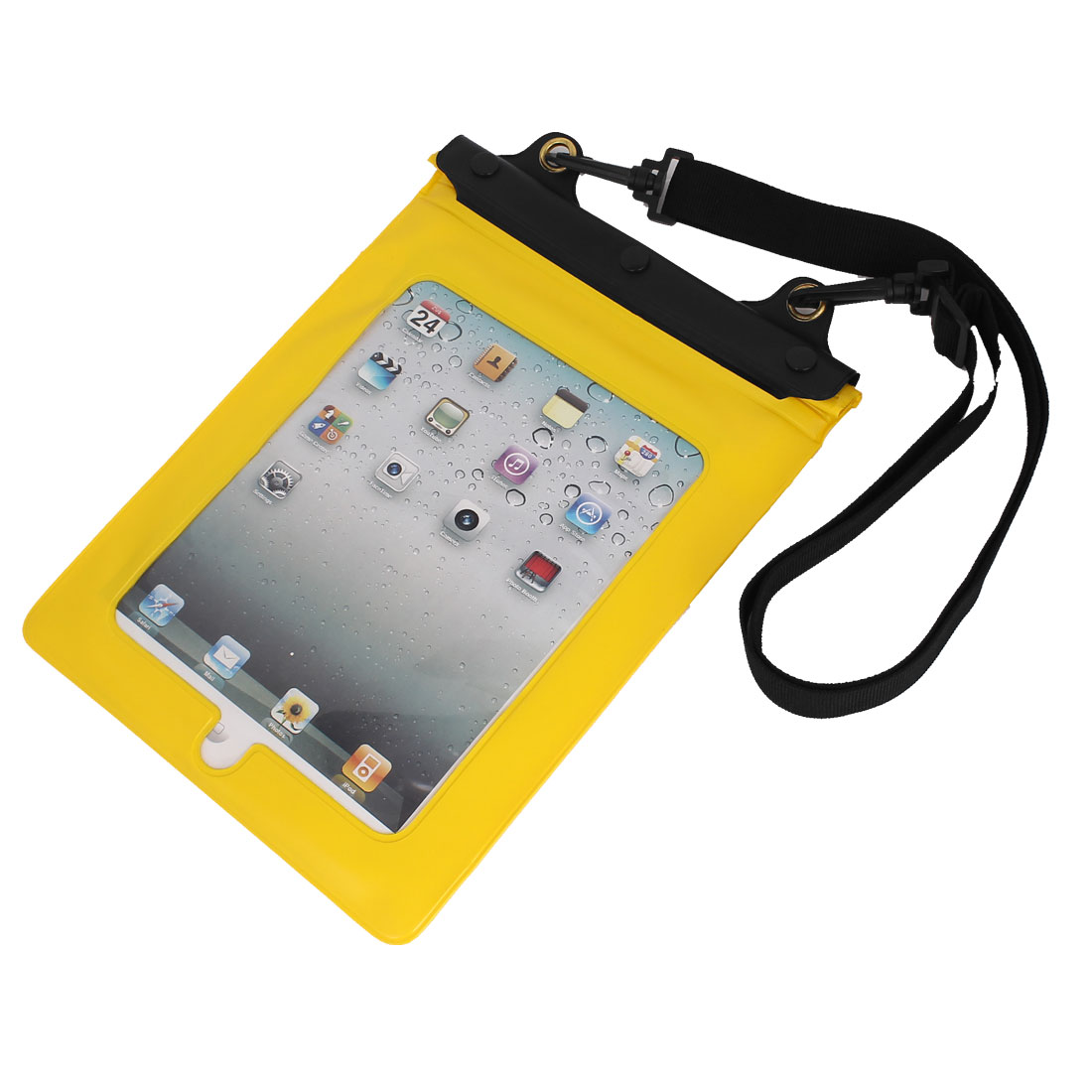 Waterproof Bag Dry Pouch Case Yellow for iPad Mini 1/2 w Hook Strip