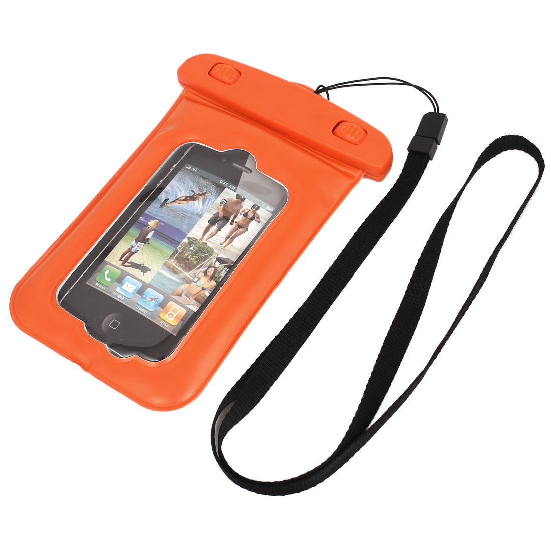 Waterproof Bag Holder Pouch Case Orange for iPhone 4/4S w Neck Strap