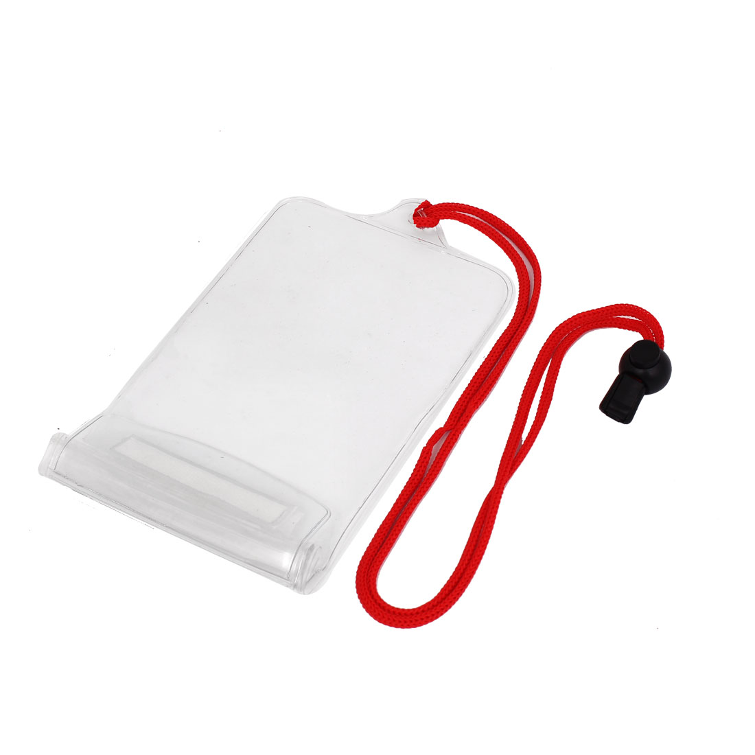 Waterproof Clear Pouch Bag Case for Cell Phone w Red Neck Strap