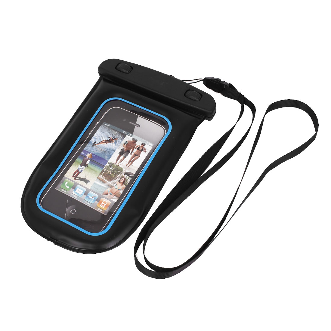 Waterproof Bag Holder Pouch Case Black Blue for iPhone 6 w Neck Strap