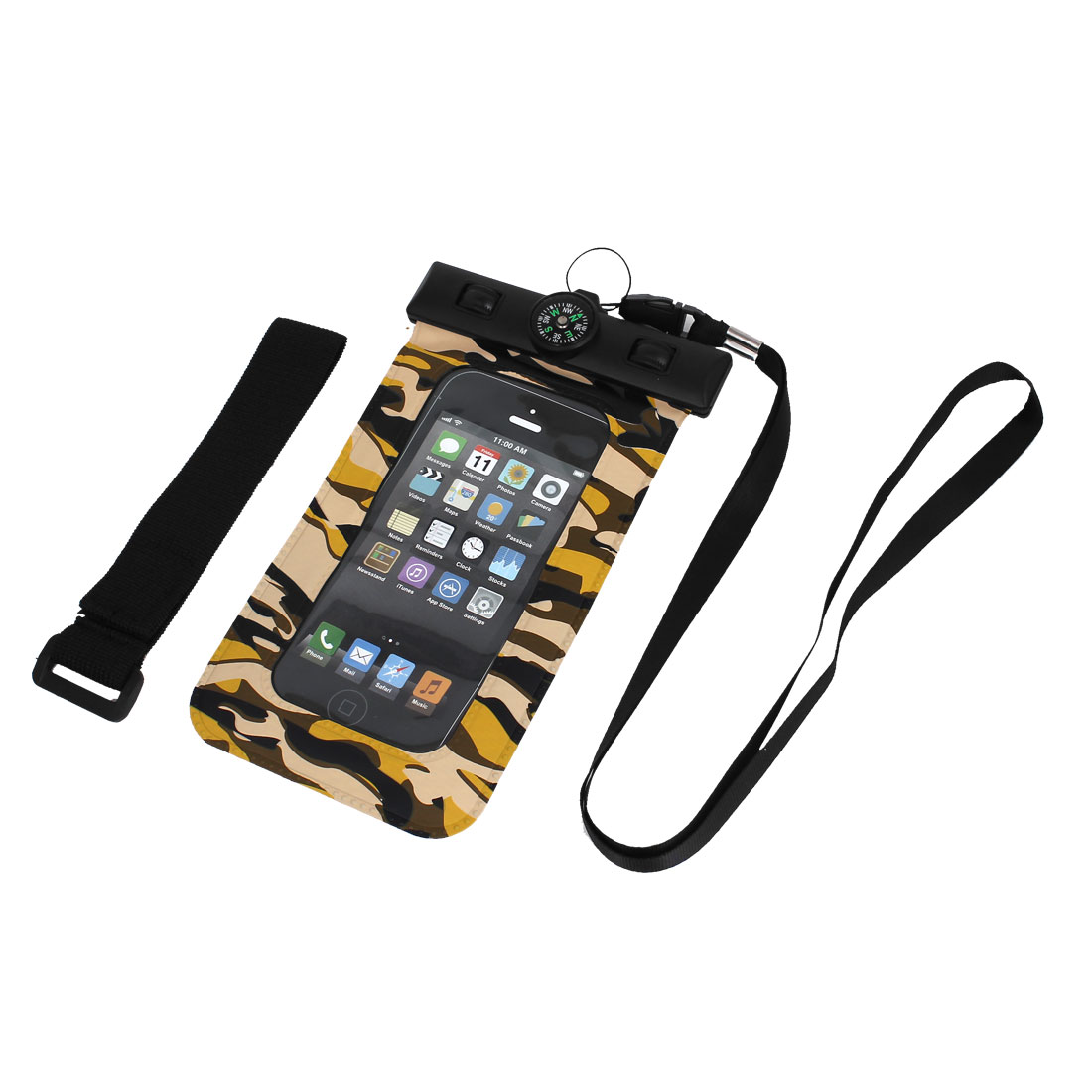 Waterproof Camouflage Pattern Bag Case w Compass for iPhone 5S/5C