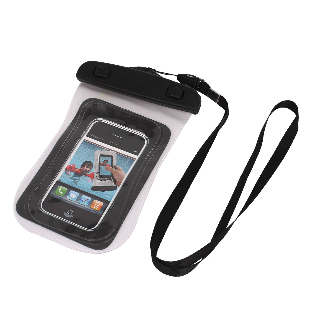"Waterproof Bag Case Holder Protector Clear w Neck Strap for 4.5"" Cell Phone"