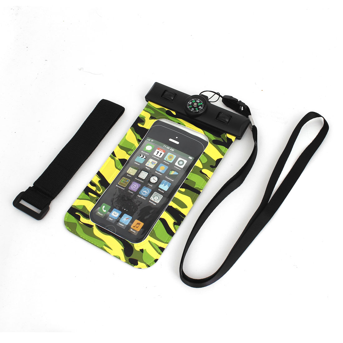 Waterproof Camouflage Pattern Bag Holder w Compass for iPhone 5S/5C