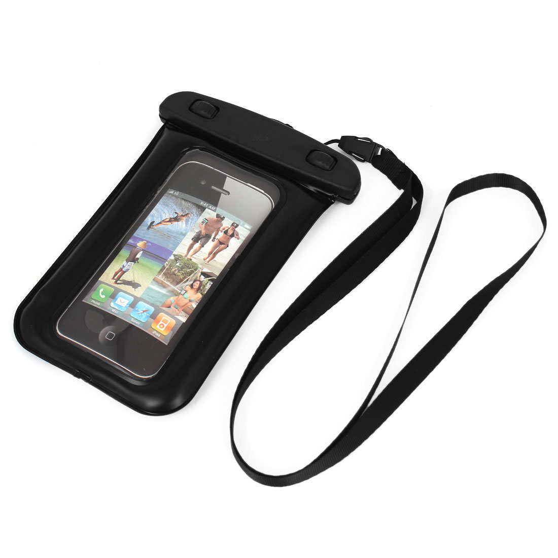 Waterproof Case Dry Bag Cover Skin Pouch Black + Neck Strap for Cell Phone