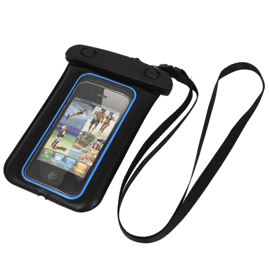 Waterproof Case Dry Bag Cover Skin Pouch Blue + Neck Strap for Cell Phone