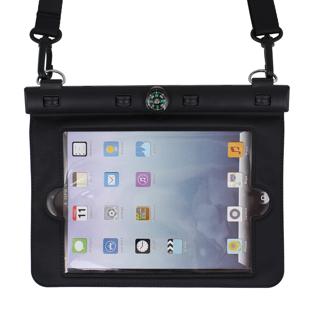 Waterproof Bag Holder Pouch Black for iPad Mini w Hook Strap Compass