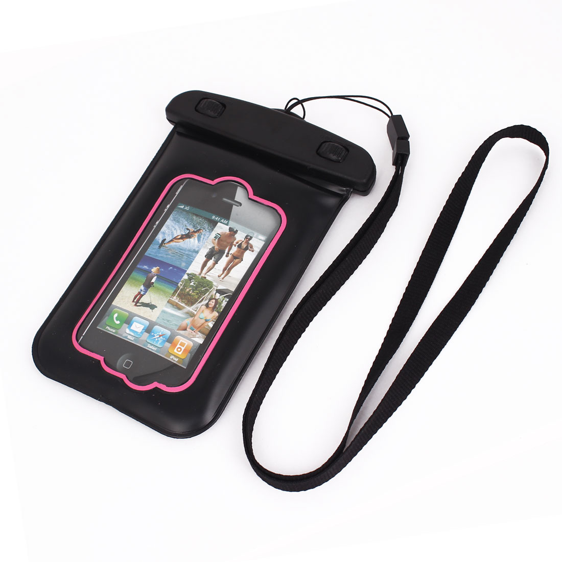 Waterproof Bag Holder Pouch Pink for iPhone 4G Plus w Neck Strap
