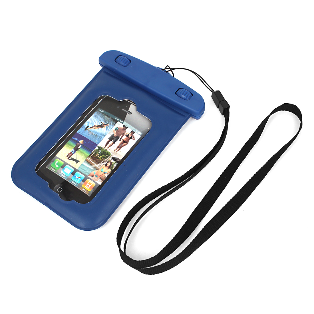 Waterproof Bag Holder Pouch Case Blue for iPhone 4/4S w Neck Strap
