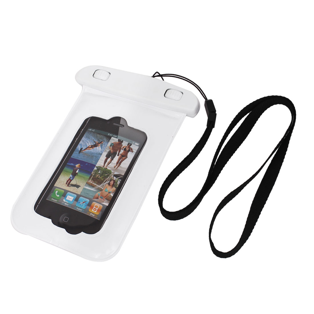 Waterproof Bag Holder Pouch Case White for iPhone 4/4S w Neck Strap