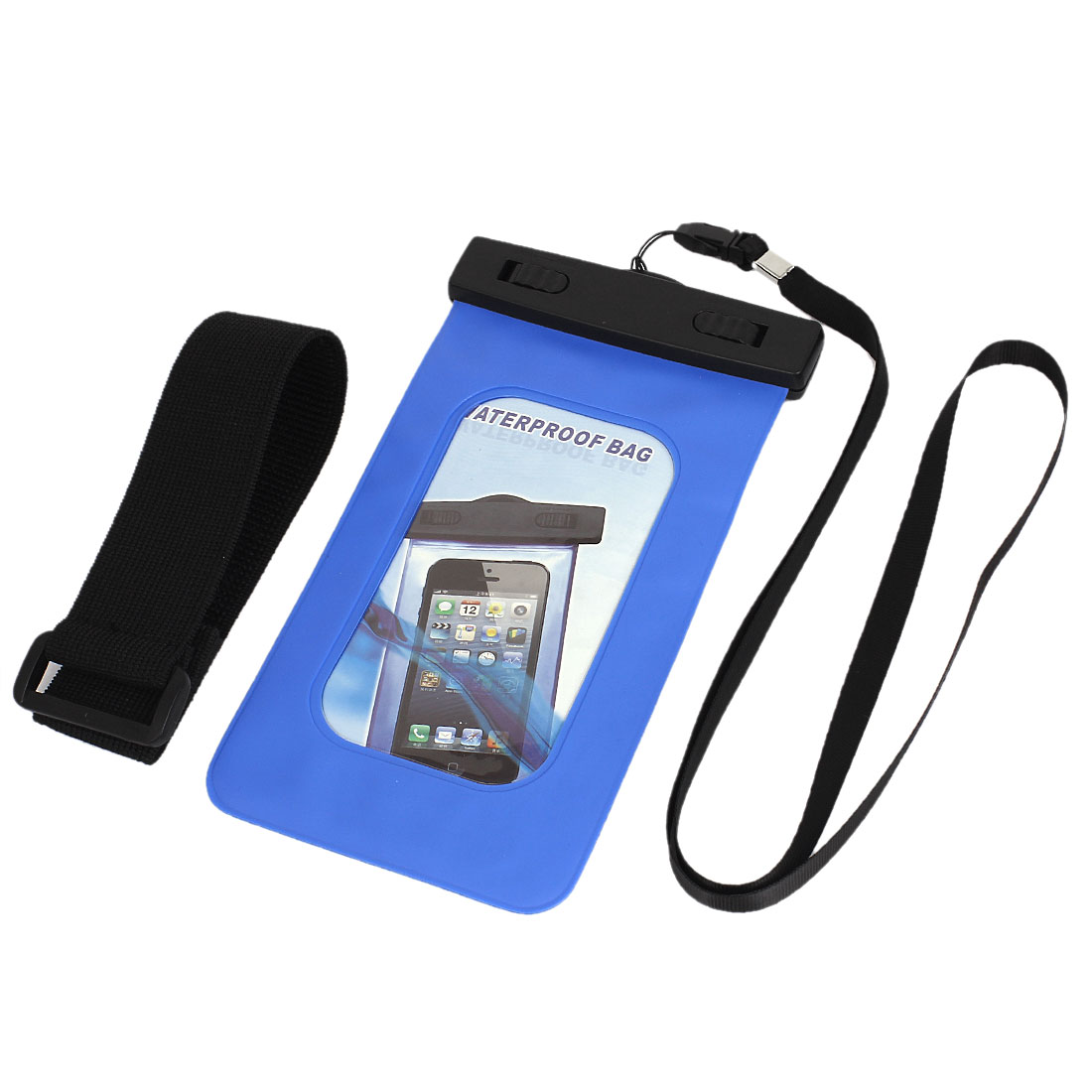 Waterproof Bag Case Holder Pouch Blue for iPhone 5G w Neck Strap Armband