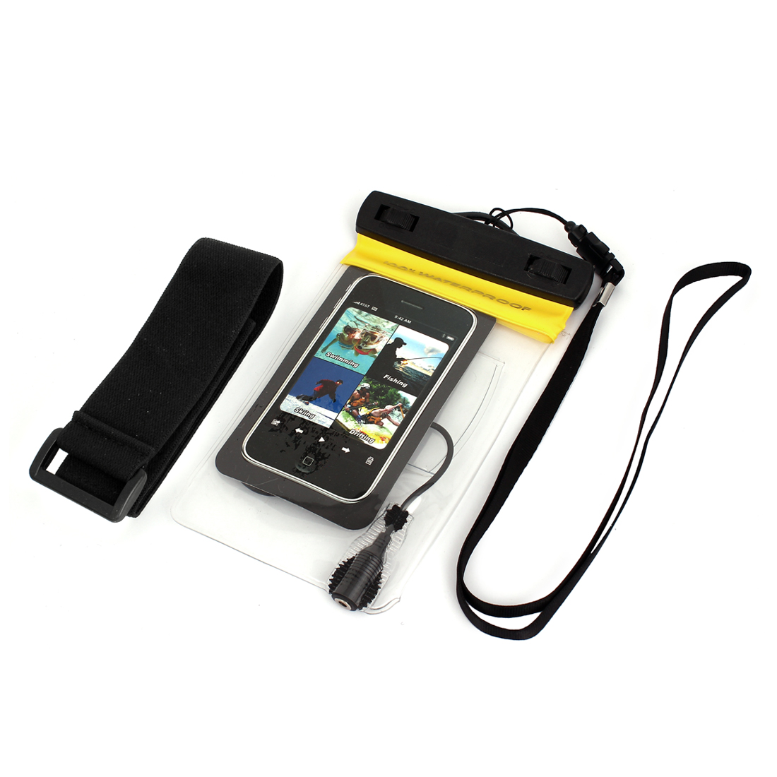 Waterproof Bag Case Holder Protector Yellow for iPone 4G w Earphone Armband