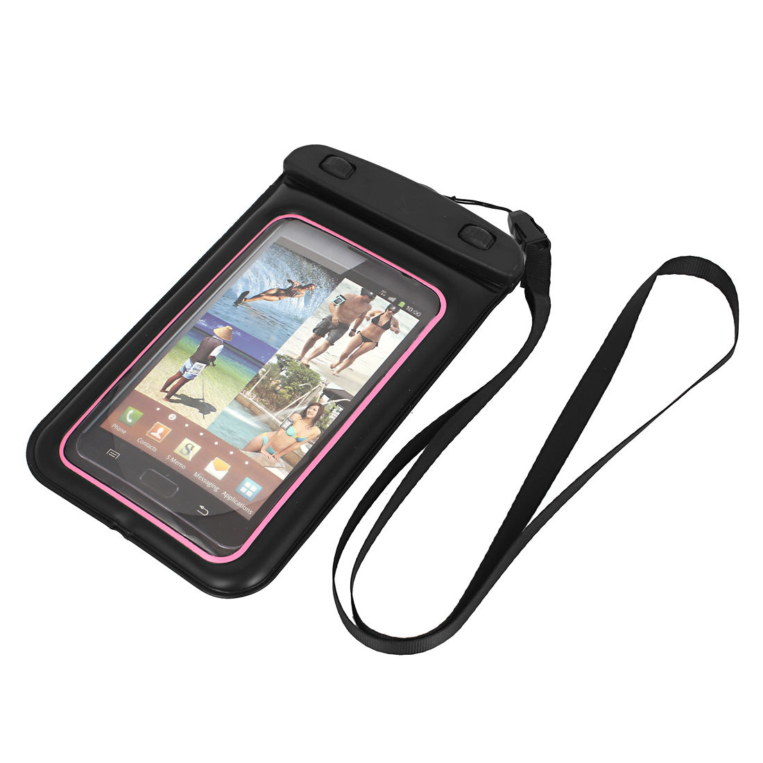"Underwater Waterproof Case Dry Bag Cover Pouch Black Pink for 5.5"" Cell Phone"