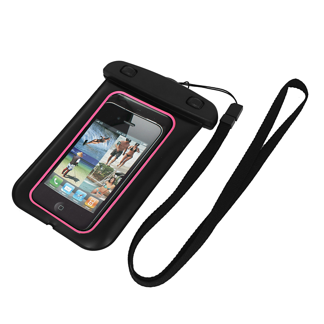 "Waterproof Bag Holder Pouch Case Black Pink + Strap for 4.7"" Cell Phone"