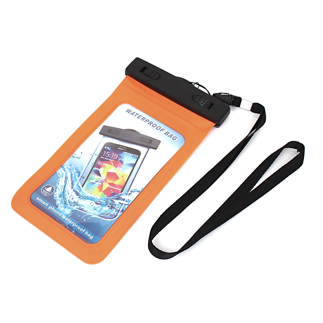 "Waterproof Bag Holder Pouch Orange for 5.5"" Mobile Phone w Neck Strap"