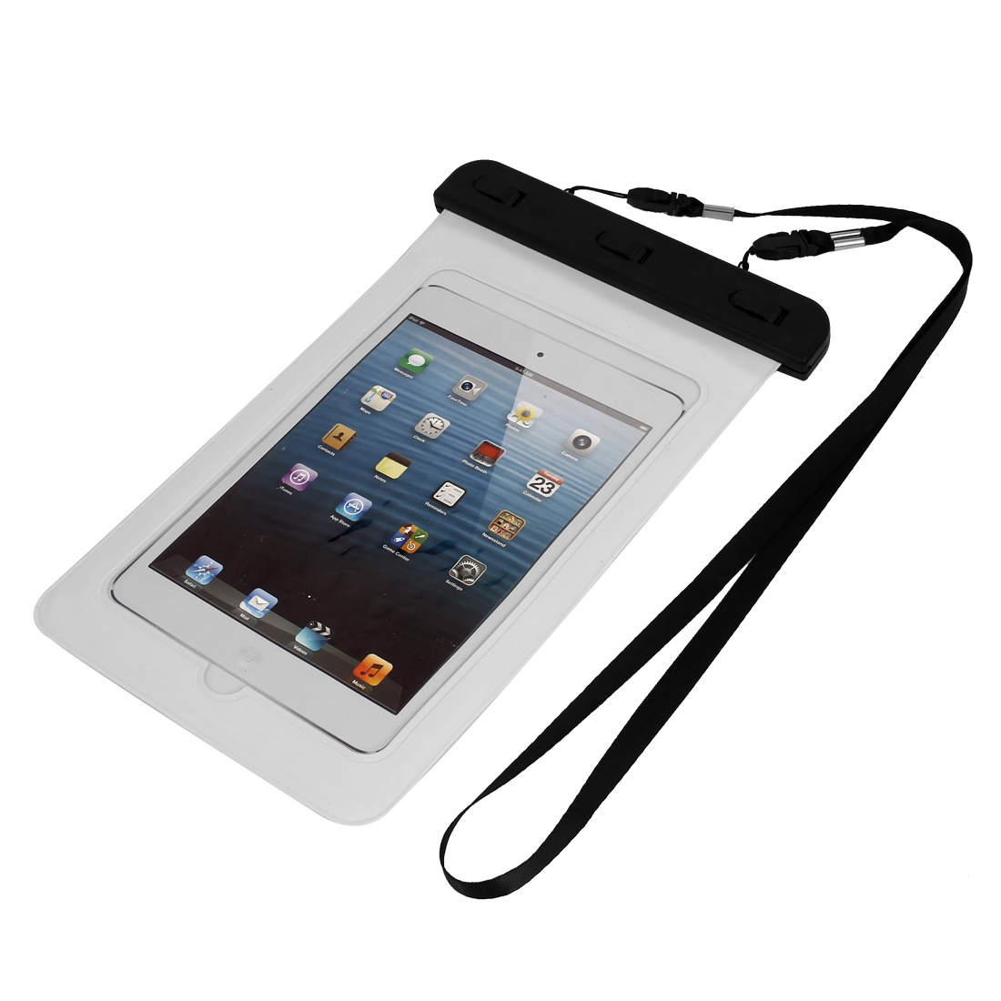 Waterproof Bag Case Holder Pouch White for iPad mini2/3 w Neck Strap