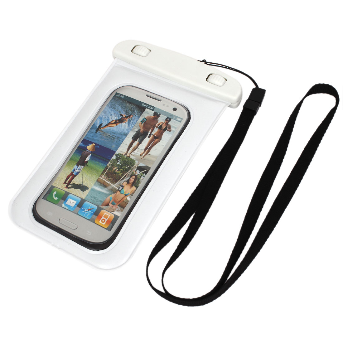 Waterproof Bag Holder Pouch White for iPhone 5C/5S w Neck Strap