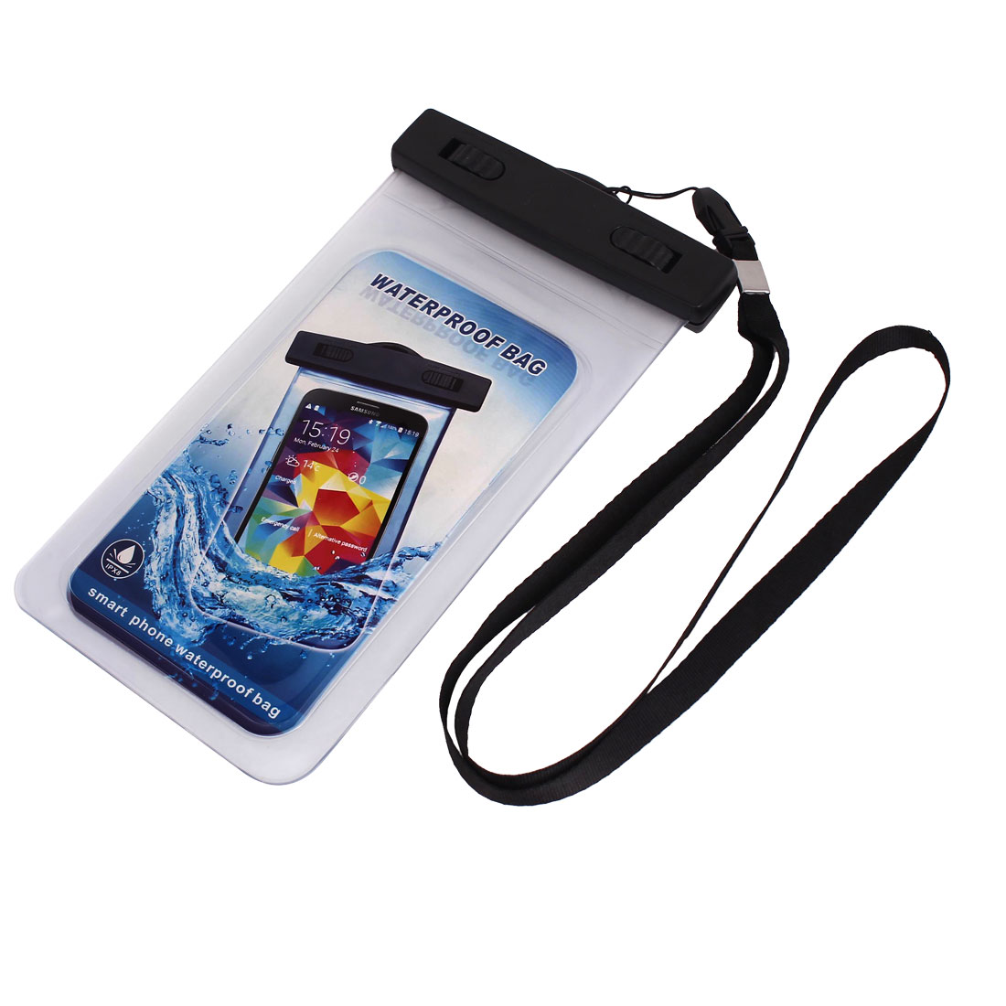 "Waterproof Bag Holder Pouch Clear for 5.5"" Mobile Phone w Neck Strap"