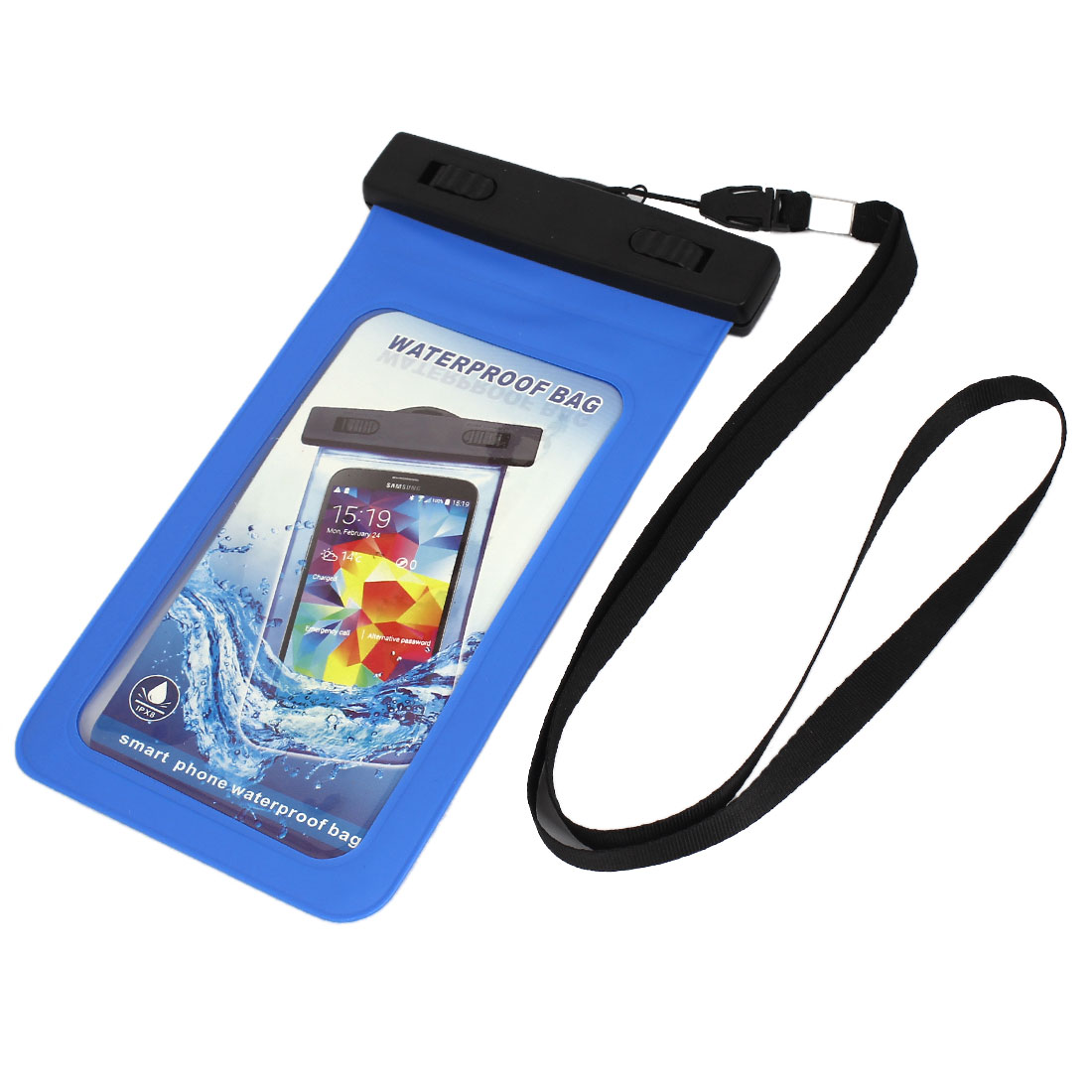 "Waterproof Bag Holder Pouch Deep Blue for 5.5"" Mobile Phone w Neck Strap"