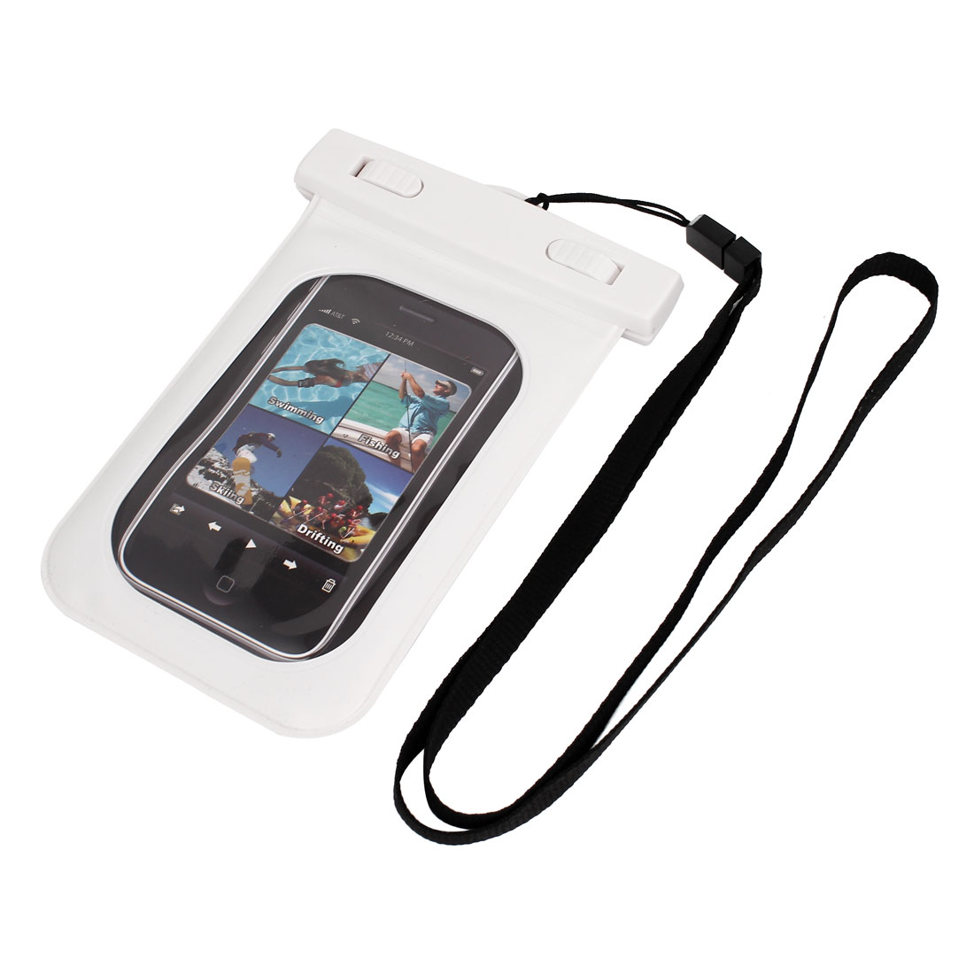 Waterproof Swimming Pouch Dry Bag Case White for iPhone 4G w Neck Strap
