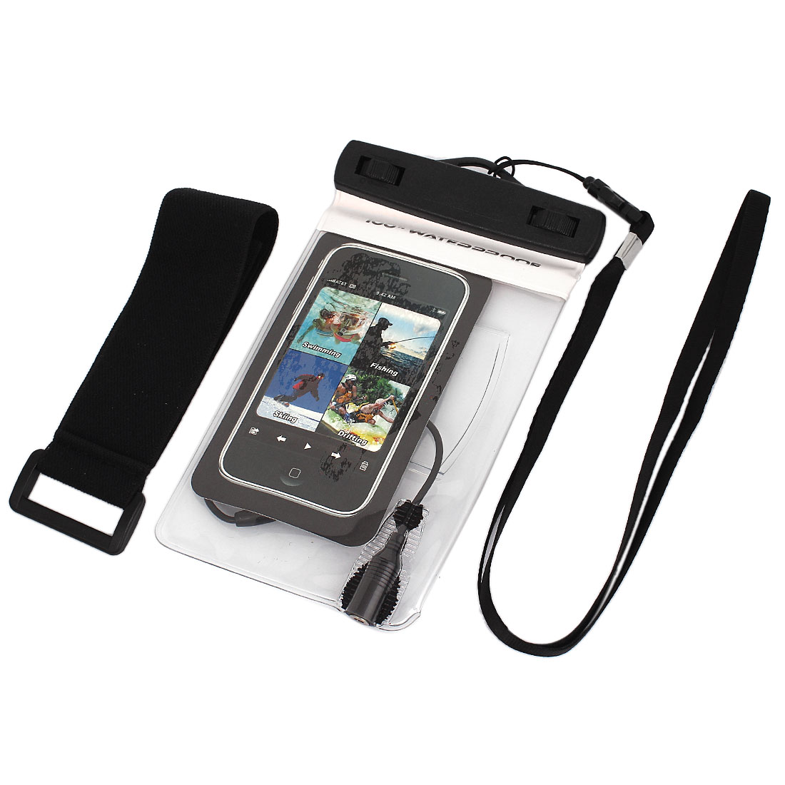 Waterproof Bag Case Holder Protector White for iPone 4G w Earphone Armband