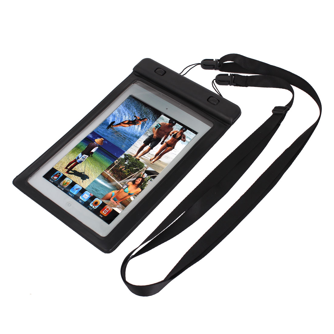 Waterproof Bag Holder Pouch Black for iPad Mini 2 w Hook Strap