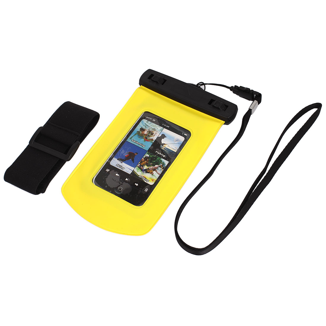 Waterproof Bag Case Holder Protector Yellow for iPhone 4G w Armband Strap
