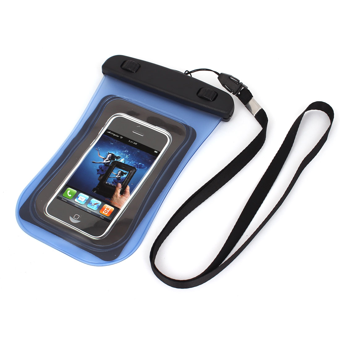 "Universal Waterproof Case Dry Bag Protective Cover Pouch Blue for 4"" Cell Phone"