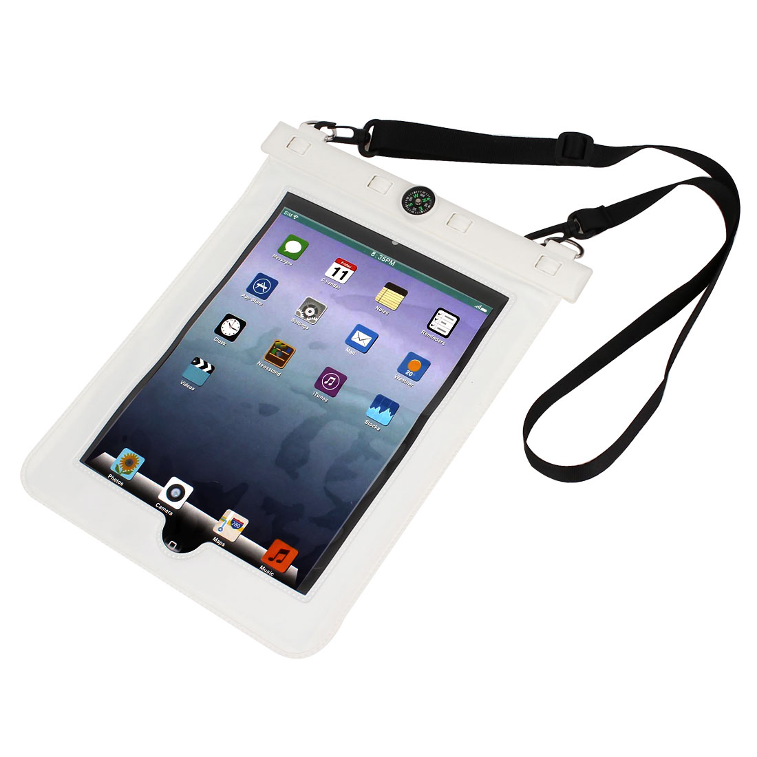Waterproof Bag Holder Pouch White for iPad Air 2 w Hook Strap Compass