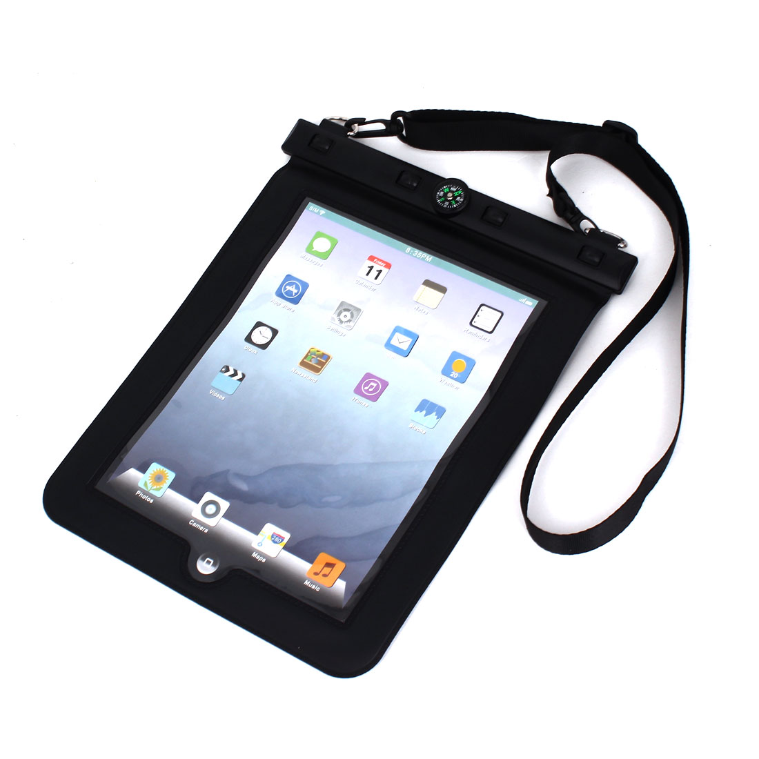 Waterproof Bag Holder Pouch Black for iPad Air 2 w Hook Strap Compass