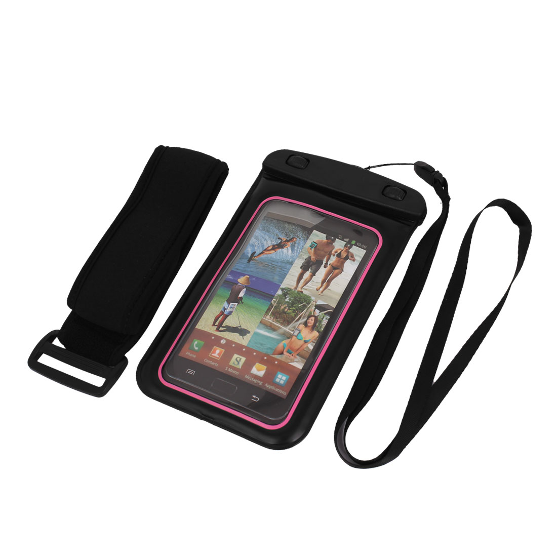 "Underwater Waterproof Case Dry Bag Cover Pouch Sleeve Black Pink for 5.5"" Phone"