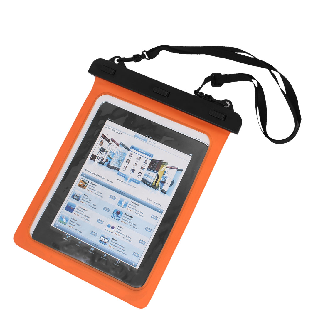 Waterproof Bag Case Holder Pouch Orange for iPad air 2 w Neck Strap
