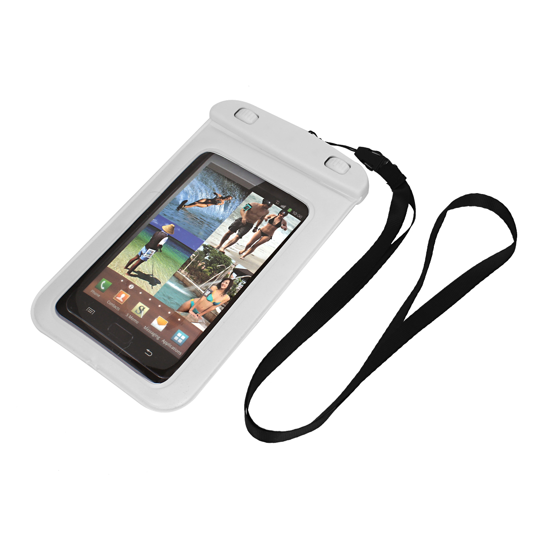 "Waterproof Bag Holder Pouch Case Cover White for 5.5"" Cell Phone w Neck Strap"