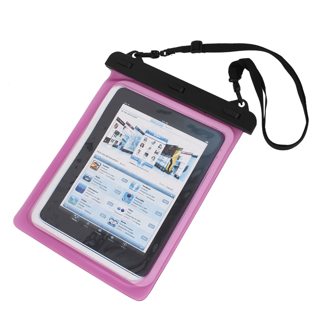 Waterproof Bag Case Holder Pouch Pink for iPad air 2 w Neck Strap