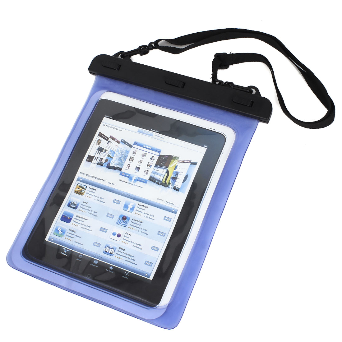 Waterproof Bag Case Holder Pouch Blue for iPad air 2 w Neck Strap