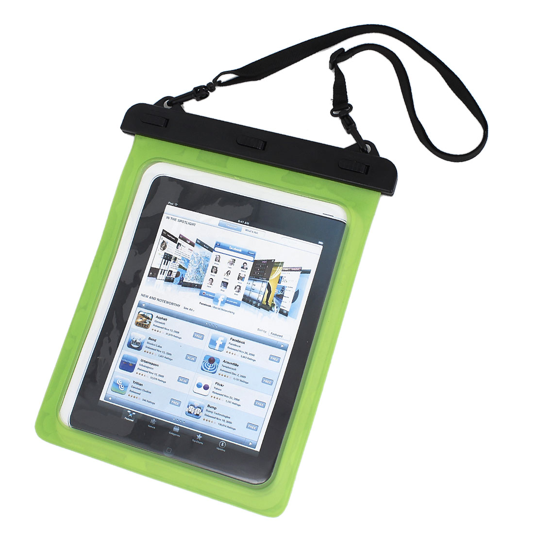 Waterproof Bag Case Holder Pouch Green for iPad air 2 w Neck Strap