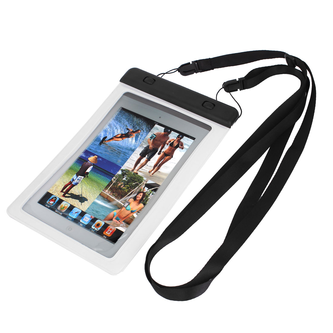 Waterproof Bag Holder Pouch White for iPad Mini 2 w Hook Strap
