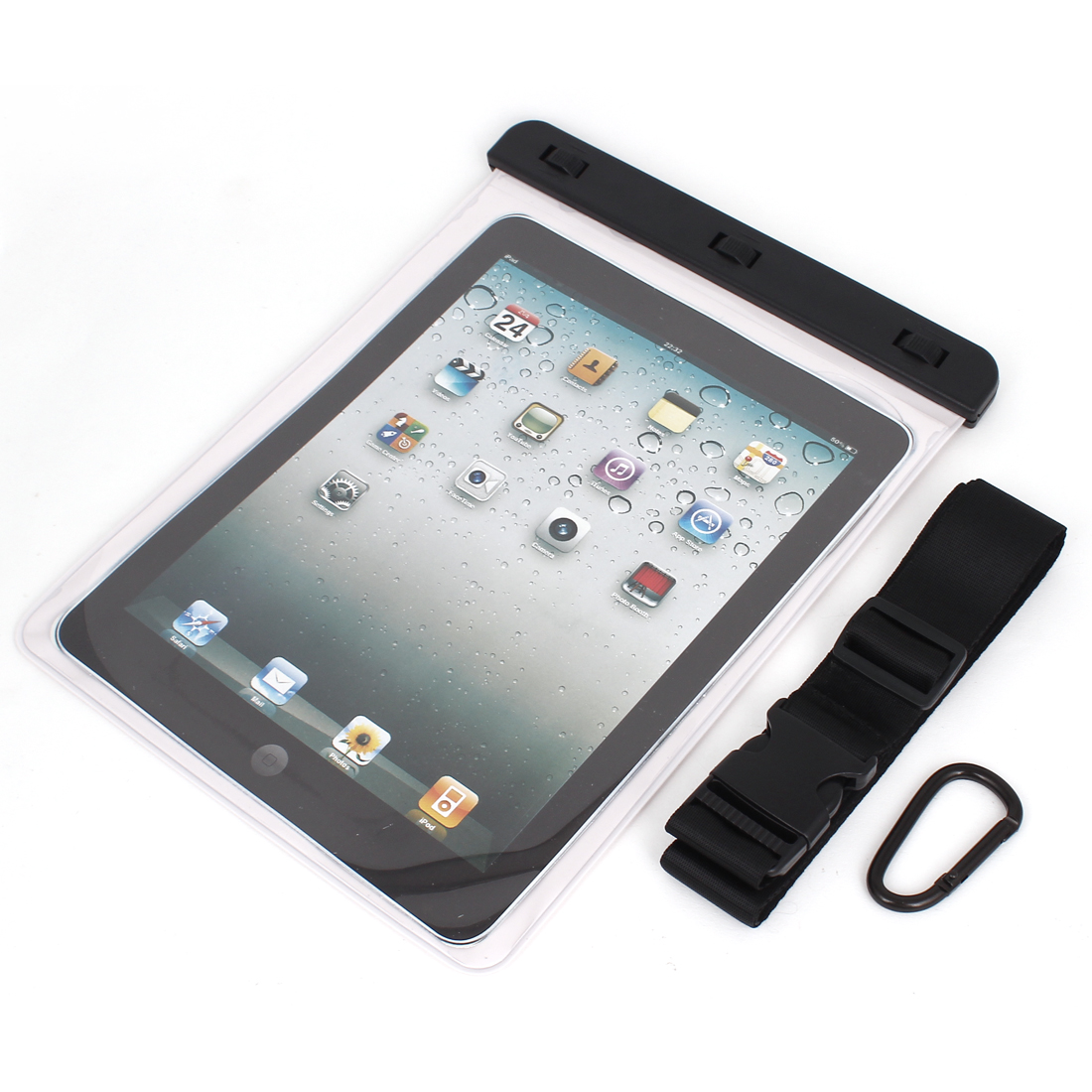 Waterproof Pouch Dry Bag Case White for iPad Air 2 w Hook Strap