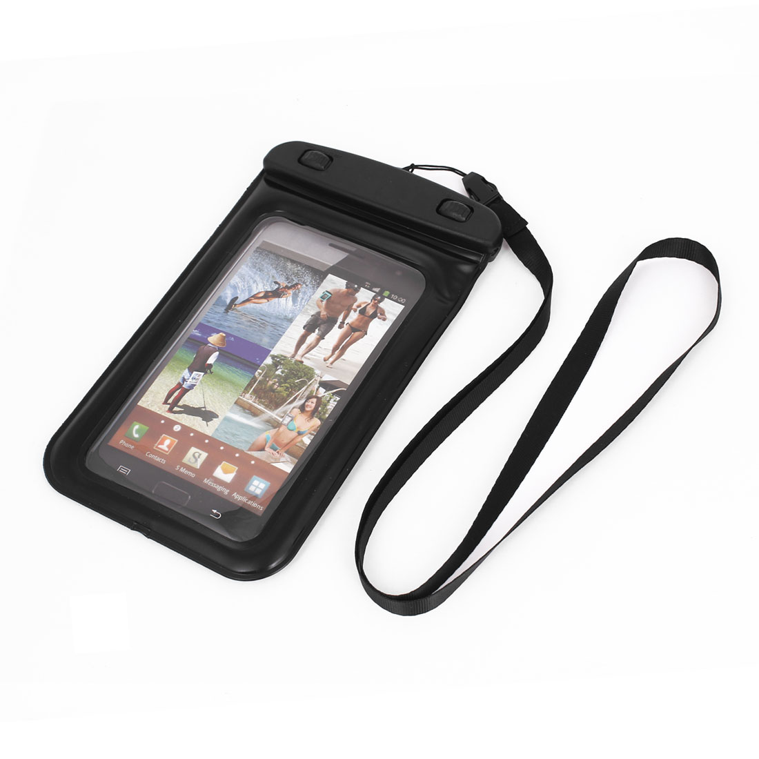 Waterproof Bag Holder Pouch Black for iPhone 6 Plus w Neck Strap