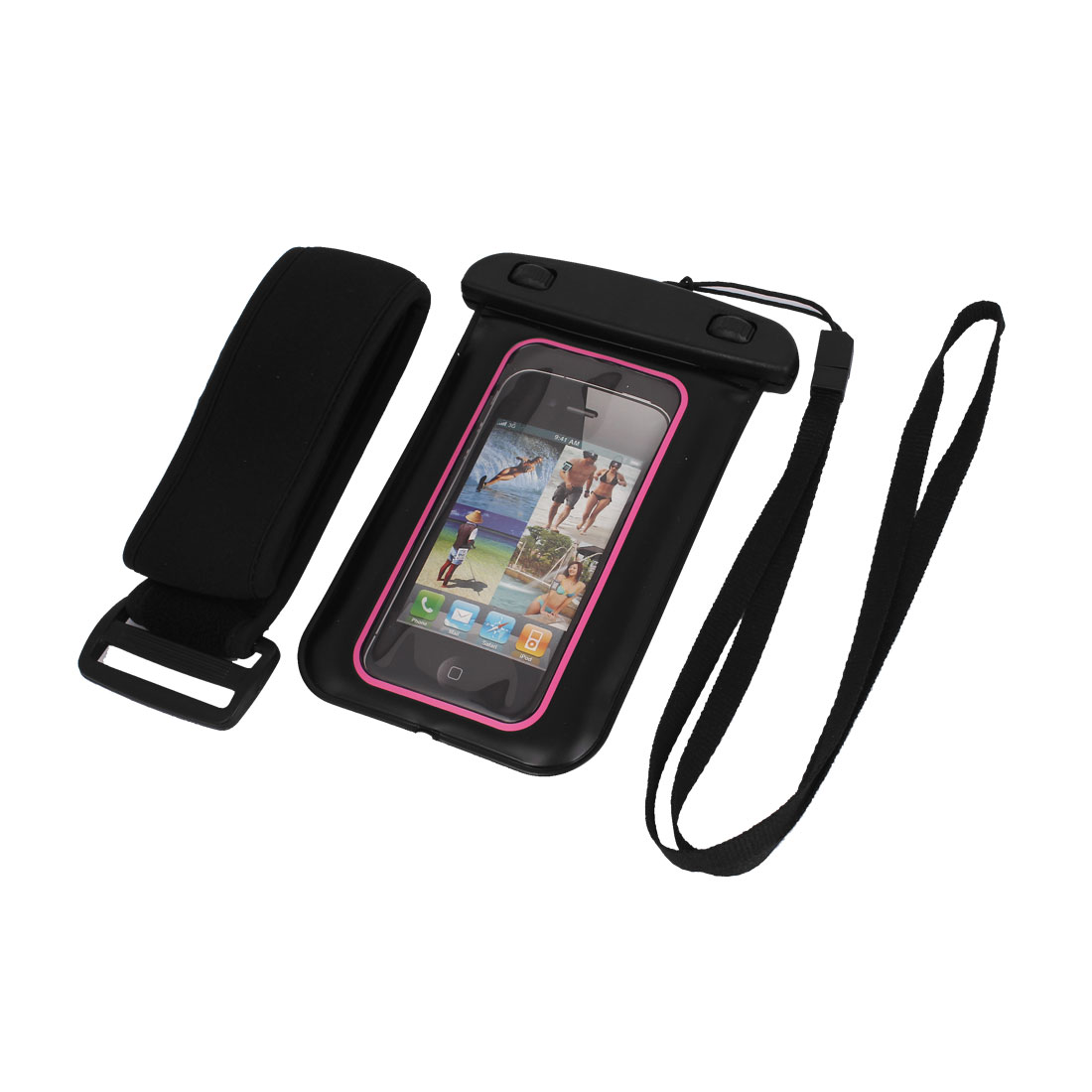 Waterproof Case Dry Bag Skin Cover Pouch Sleeve Black Pink for iPhone 5 5C 5S