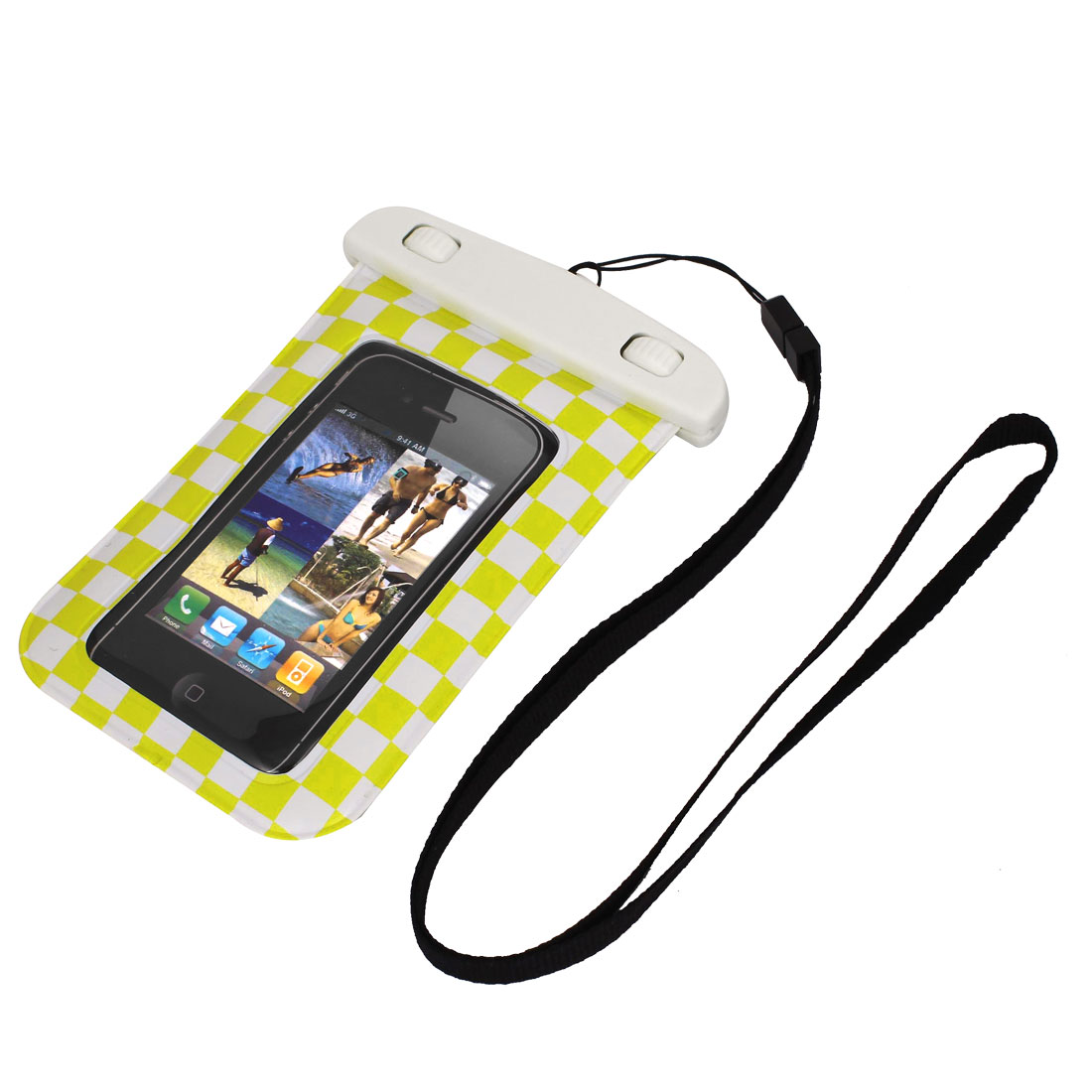 "Grid Pattern Waterproof Case Dry Bag Cover Pouch Holder Yellow for 4"" Cell Phone"