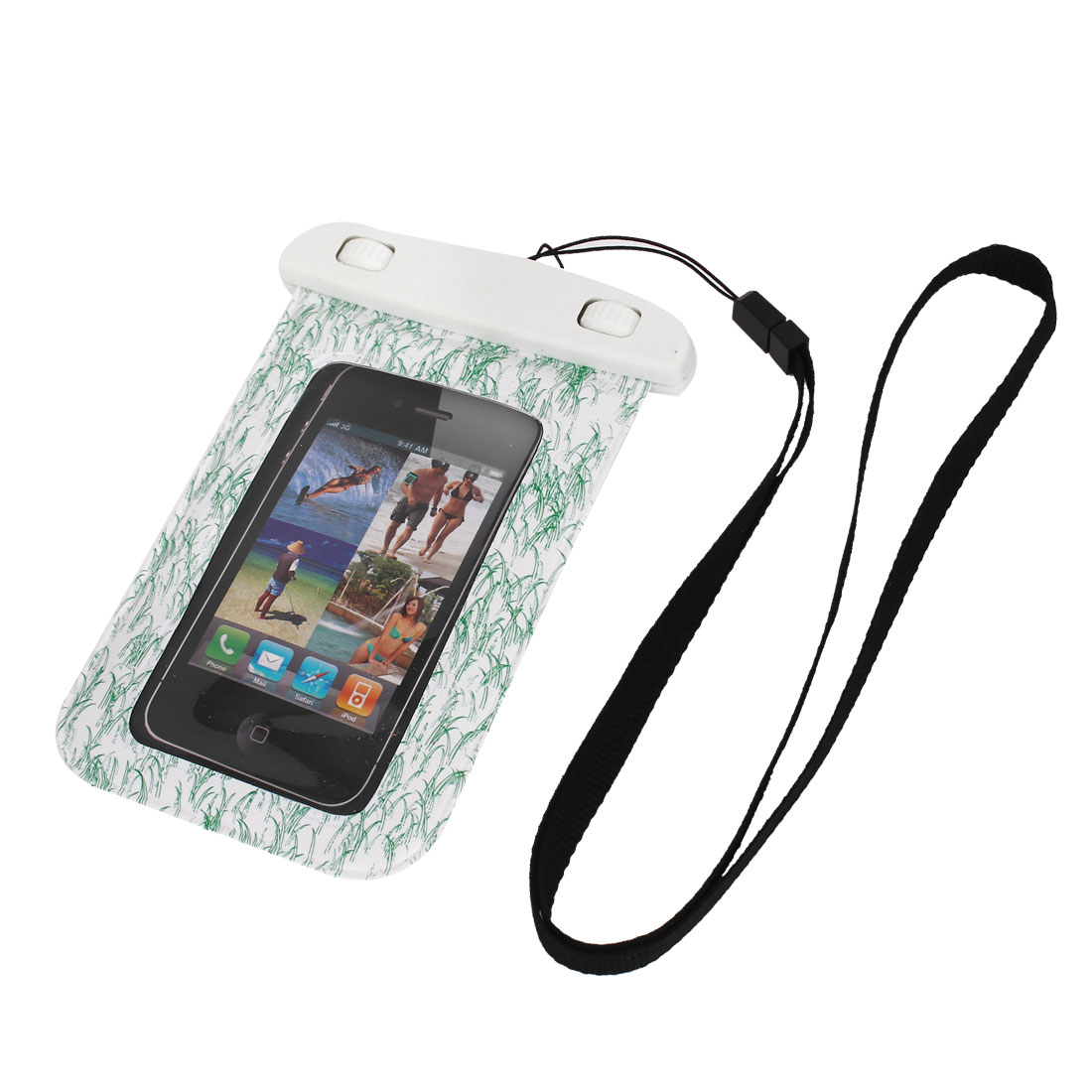 """Waterproof Swimming Pouch Bag Case Green for 4"""" Cell Phone w Neck Strap"""