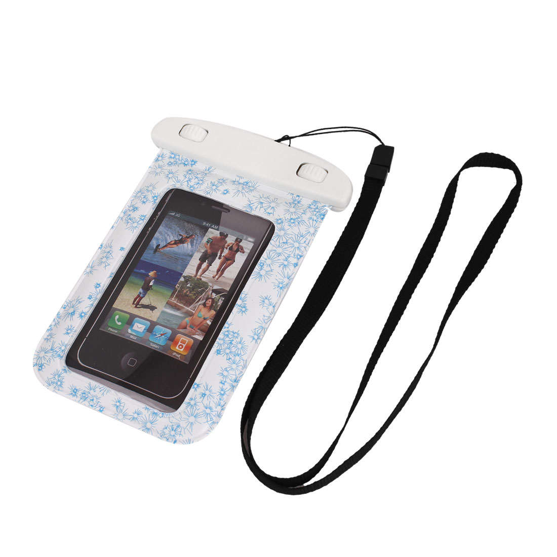 Floral Print Waterproof Swimming Pouch Bag Case Blue + Strap for Cell Phone