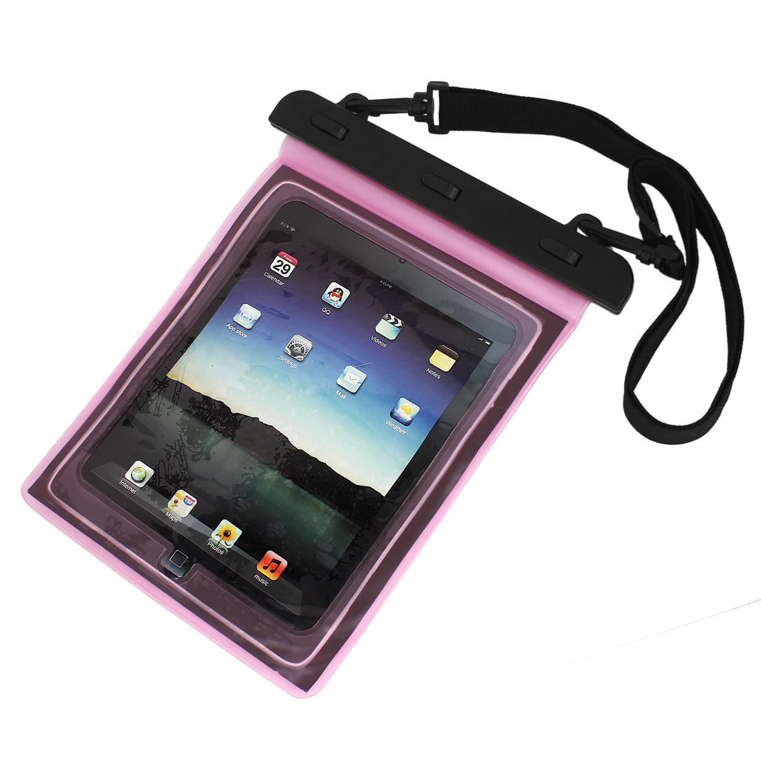 """Waterproof Pouch Underwater Dry Bag Case Cover Pink + Belt for 9.7"""" Tablet PC"""
