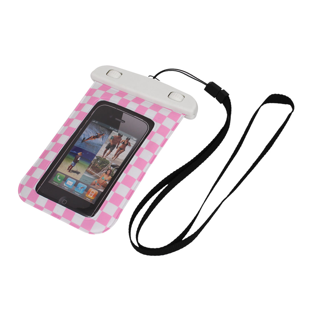 "Grid Pattern Waterproof Case Dry Bag Cover Pouch Holder Pink for 4"" Cell Phone"