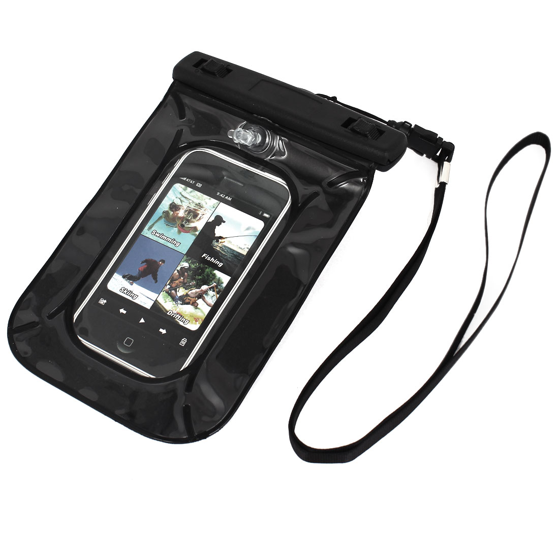 """Waterproof Pouch Underwater Diving Dry Bag Case Cover Black for 4"""" Cell Phone"""