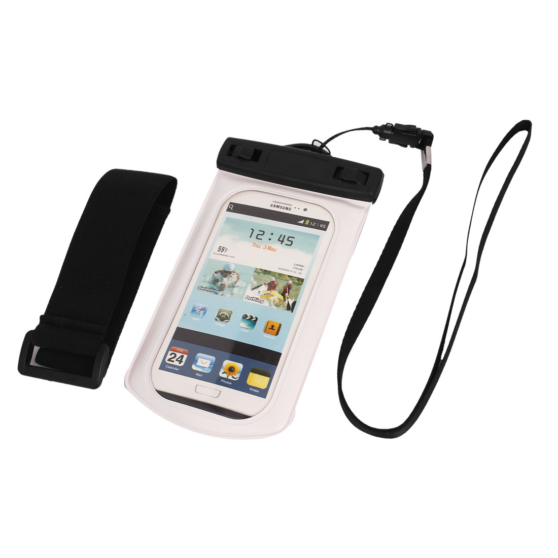 "Waterproof Case Dry Bag Cover Pouch Holder White for 4.7"" Cell Phone"