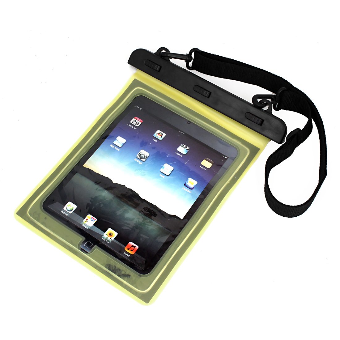 "Waterproof Pouch Underwater Dry Bag Case Cover Yellow + Belt for 9.7"" Tablet PC"