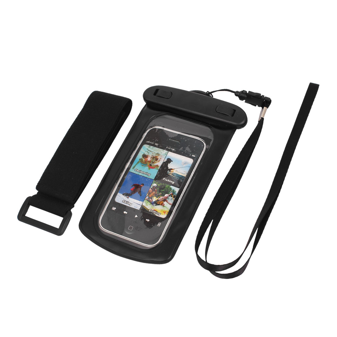 "Waterproof Case Dry Bag Skin Cover Pouch + Earplug Black for 3.5"" Cell Phone"