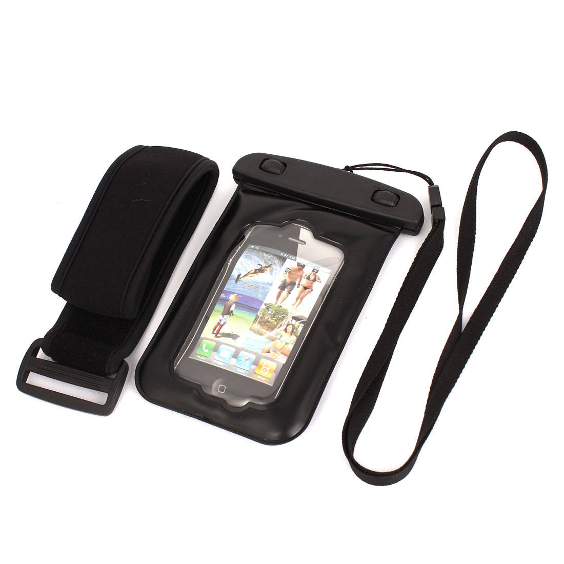 "Waterproof Case Dry Bag Skin Cover Pouch + Earplug Black for 4"" Cell Phone"