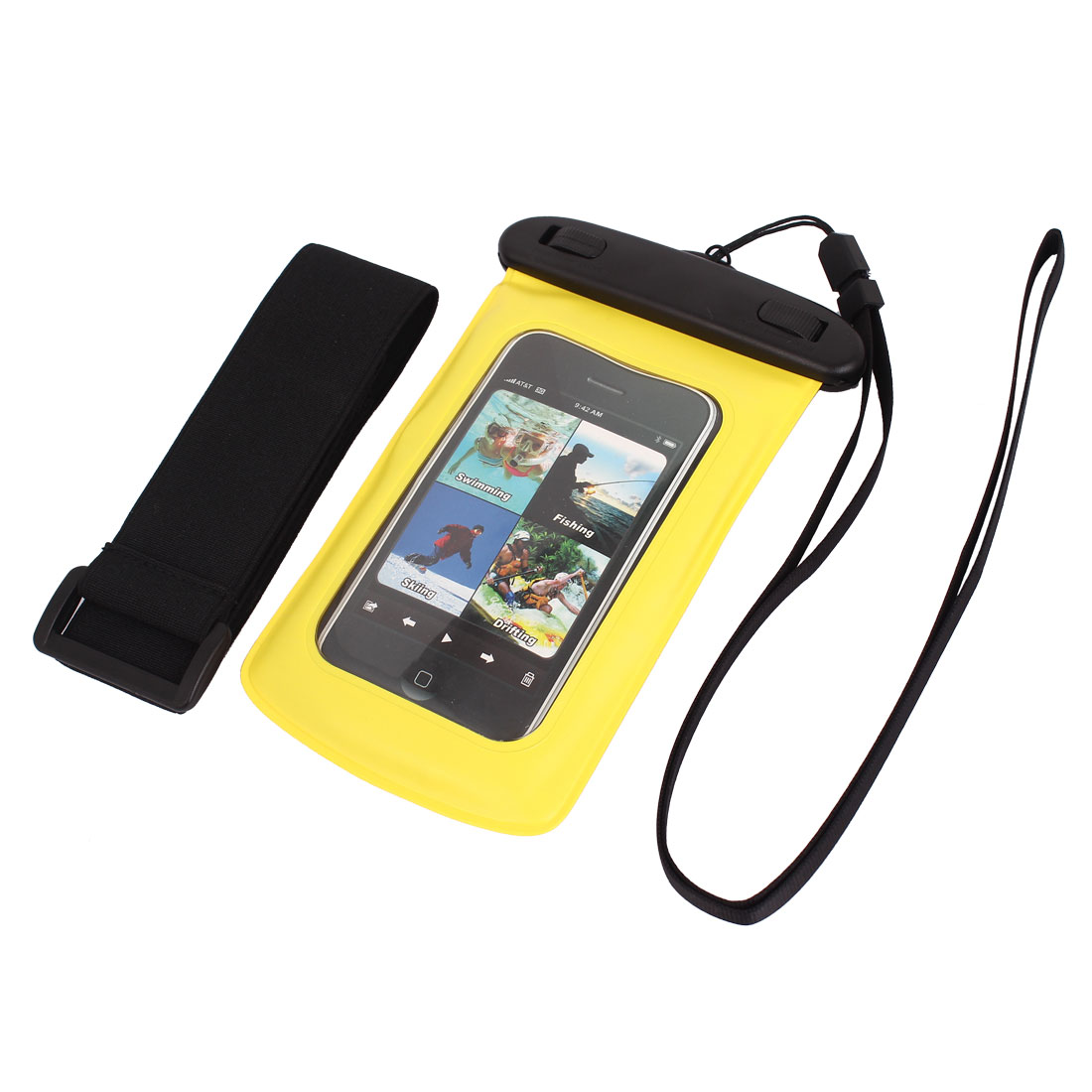 "Waterproof Case Dry Bag Skin Cover Pouch + Earplug Yellow for 4"" Cell Phone"
